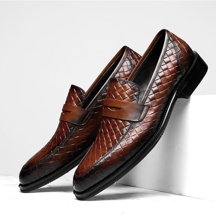 298d36c7 Para Baile Hecho Genuino marrón Boda Black Vestir A De Graduación Zapatos  Negro Mano Tejido Diseño Mocasines Cuero Hombre ...