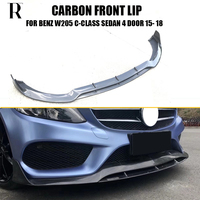 W205 B Styling Carbon Fiber Front Bumper Lip for Benz W205 C class Sedan 4DR C180 C200 C260 C300 C43 with Amg Package ( Not C63)