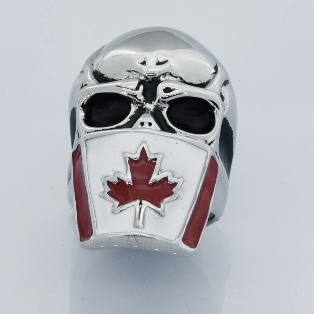FANSSTEEL Stainless steel jewelry   maple flag mask skull ring FSR13W13