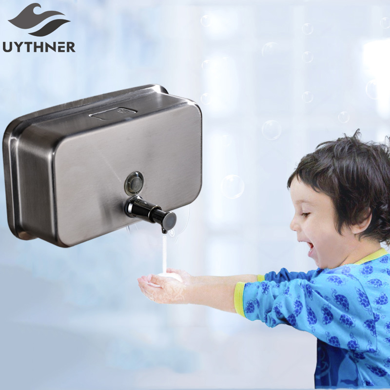 Uythner Square Brushed Nickel Soap Dispenser Liquid Shampoo Soap Bottle Bathroom Accessories Wall Mounted 1000ML free shipping brass black liquid soap dispenser bathroom kitchen stainless steel touch soap dispenser wall mounted 1000ml