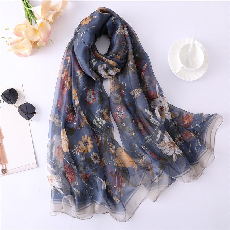 Image 2 - 2019 New Floral Print Summer Silk Scarf Bohemia For Women Silk Hijab Women Shawls and Wraps SIlk Pareo Beach Scarf Sarong WrapWomens Scarves   -
