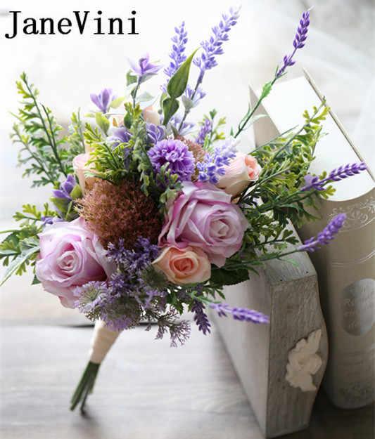 JaneVini 2018 горячая распродажа; Романтика Свадебные цветы Свадебные букеты Фиолетовый Искусственный цветок розы плетеный Канат цветы для ручек Buque