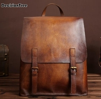 New Classic Oil Wax Male Backpacks Casual Genuine Leather Business Shoulder Bag Vintage Multifunctional College Schoolbag C204
