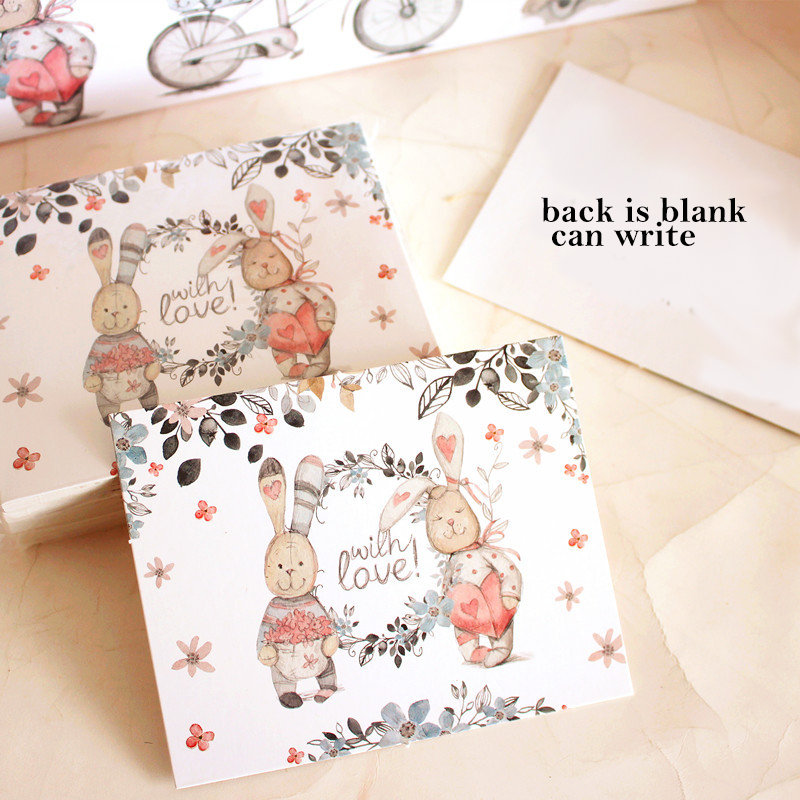 50pcs Mini thanks Card rabbit and friends style multi-use as Scrapbooking invitation DIY Decor party gift card message card