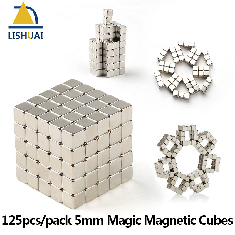 125pcs/set 5*5*5mm Magic Magnetic Cubes/Strong Rare Earth DIY Puzzle Magnets Addictive Magnetic Desktoy brand new yuxin zhisheng huanglong high bright stickerless 9x9x9 speed magic cube puzzle game cubes educational toys for kids