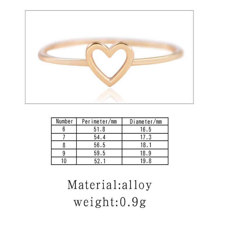 חדש קלאסי זהב כסף צבע הולו לב טבעת אהבת חתונה להקות טבעת לנשים ברור אופנה 925 תכשיטי מתנת מסיבה טבעות