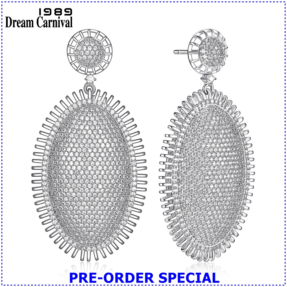 DreamCarnival 1989 Superior Quality Luxury Accessories White color Zirconia Fully Paved Stones Statement Women Earrings SE18982