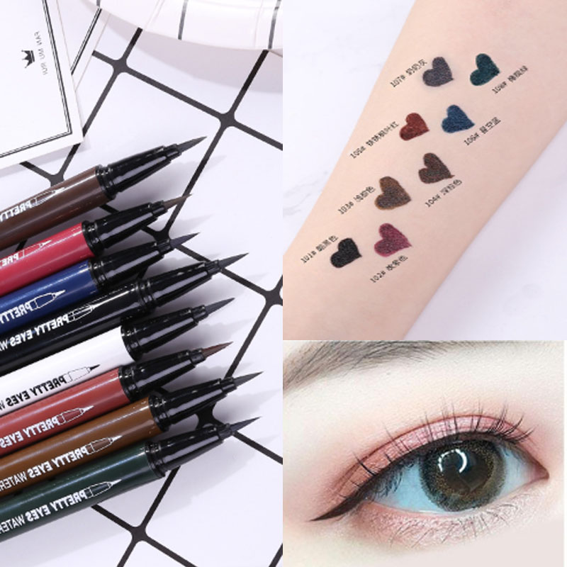 Intelligent Xixi Colorful Eyeliner Pencil Soft Head Quick Dry Waterproof Long Lasting Red Blue Purple Liquid Eyeliner Pen Ac042 Promoting Health And Curing Diseases Beauty Essentials Eyeliner