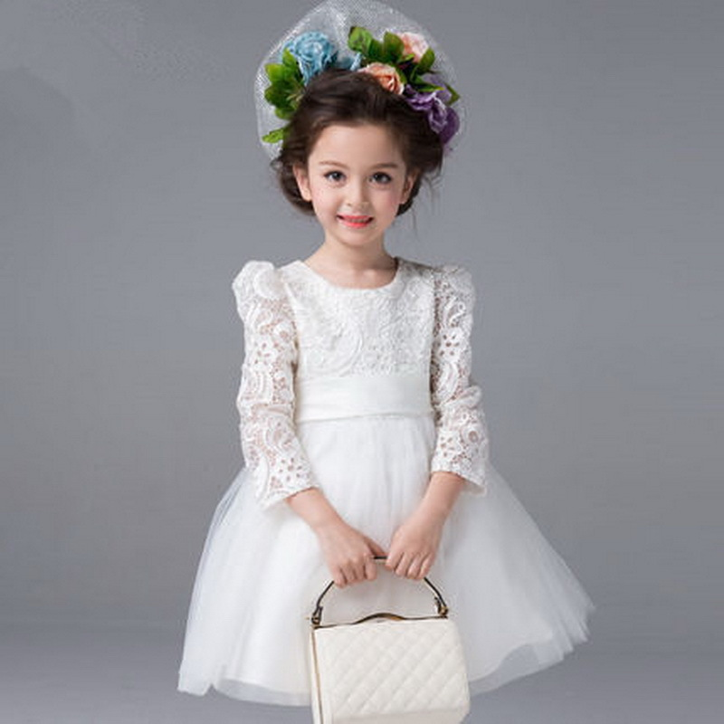 2015 New Arrival Girls European Style Wedding Dress Kids Lace & Mesh Princess Dress Girls Brand Party Long Sleeve Dress , LC453