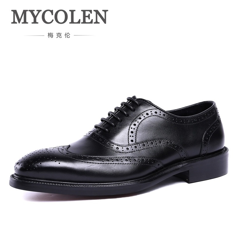 MYCOLEN Dress Shoes Genuine Leather Elegant Bullock Carving Oxford Shoes For Men Business Work Shoes Italian Vintage Style hot sale mens italian style flat shoes genuine leather handmade men casual flats top quality oxford shoes men leather shoes