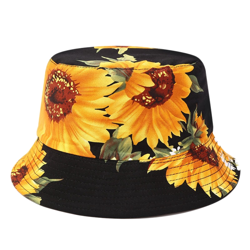 Printed Sunflower Bucket Hat Caps Fisherman Panama Cotton Layer Fabric Sun Hats Casual Unisex Fashion Caps Panama Flat Hats