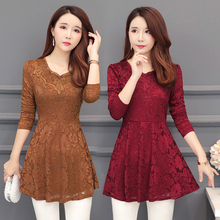 Red Lace Blouse shirt mesh stitching lace chiffon blouse elegant female hollow out casual tops fashion women clothing 004H