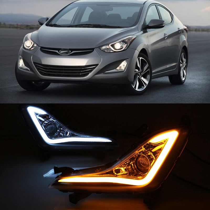 Car Flashing 2Pcs For Hyundai Elantra 2014 2015 LED DRL fog lamps cover daytime running light