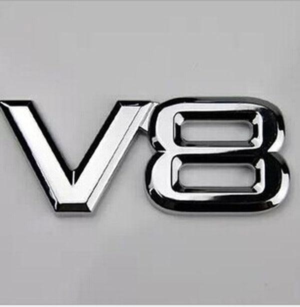 V8 Chrom Emblem Aufkleber Logo 3D Metall V8 Emblem Für Auto Kfz Motorrad