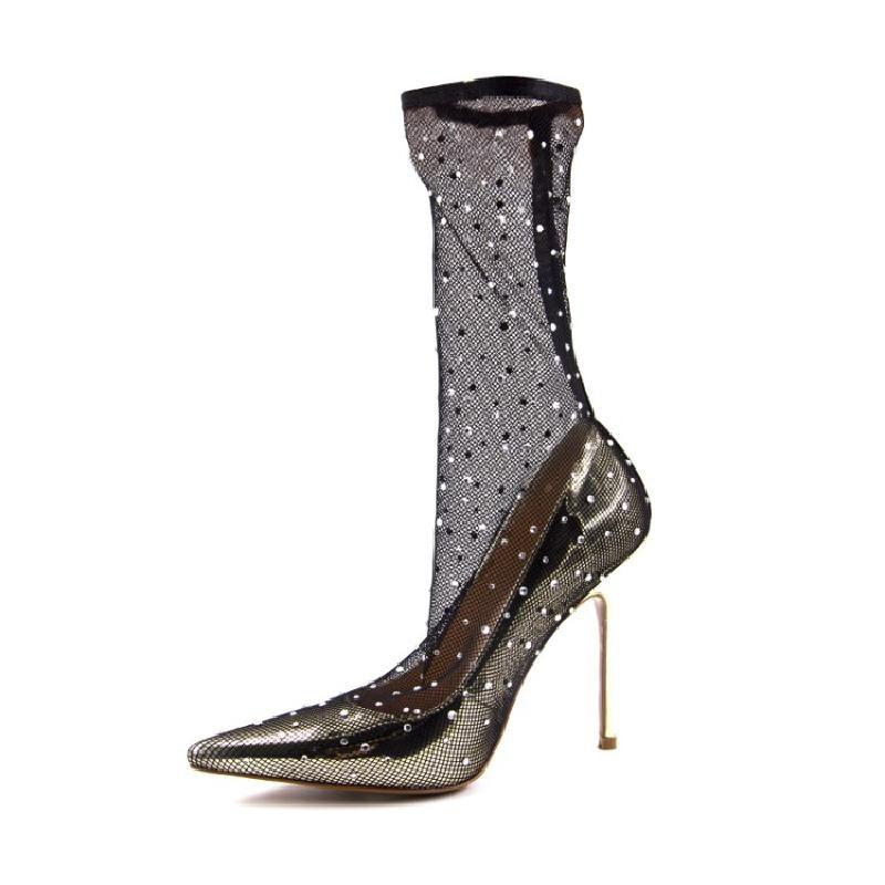 Dot Stiletto Femmes Toe Paillettes Dames Sur Talons Slip Chaussures Bottes Grenadine Sexy Knsvvli Dentelle Hauts Pompes Gold Point Polka 5pBFgg