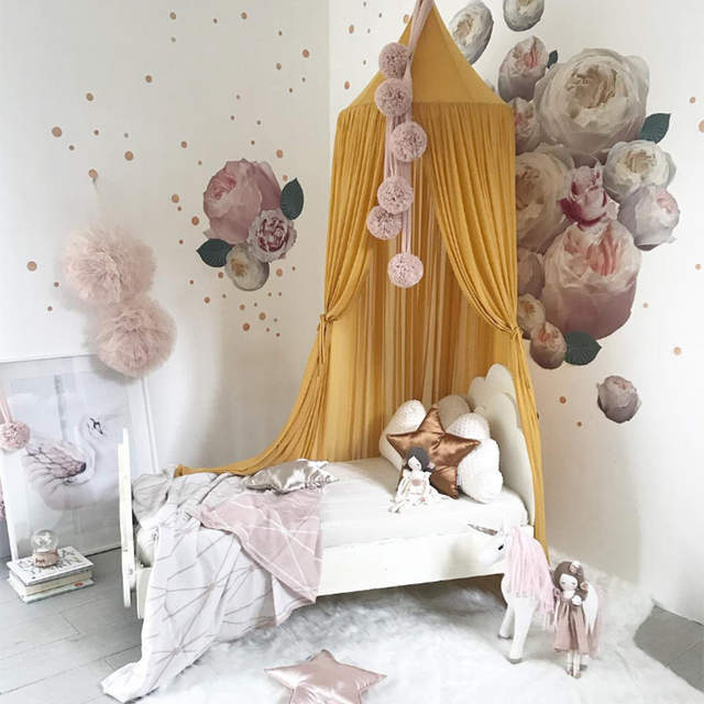 Nordic Baby Canopy Mosquito Net Summer Dome Bedding Girl Princess Round  Mosquito Net Baby Bed Canopy Tent Bed Curtain Canopy
