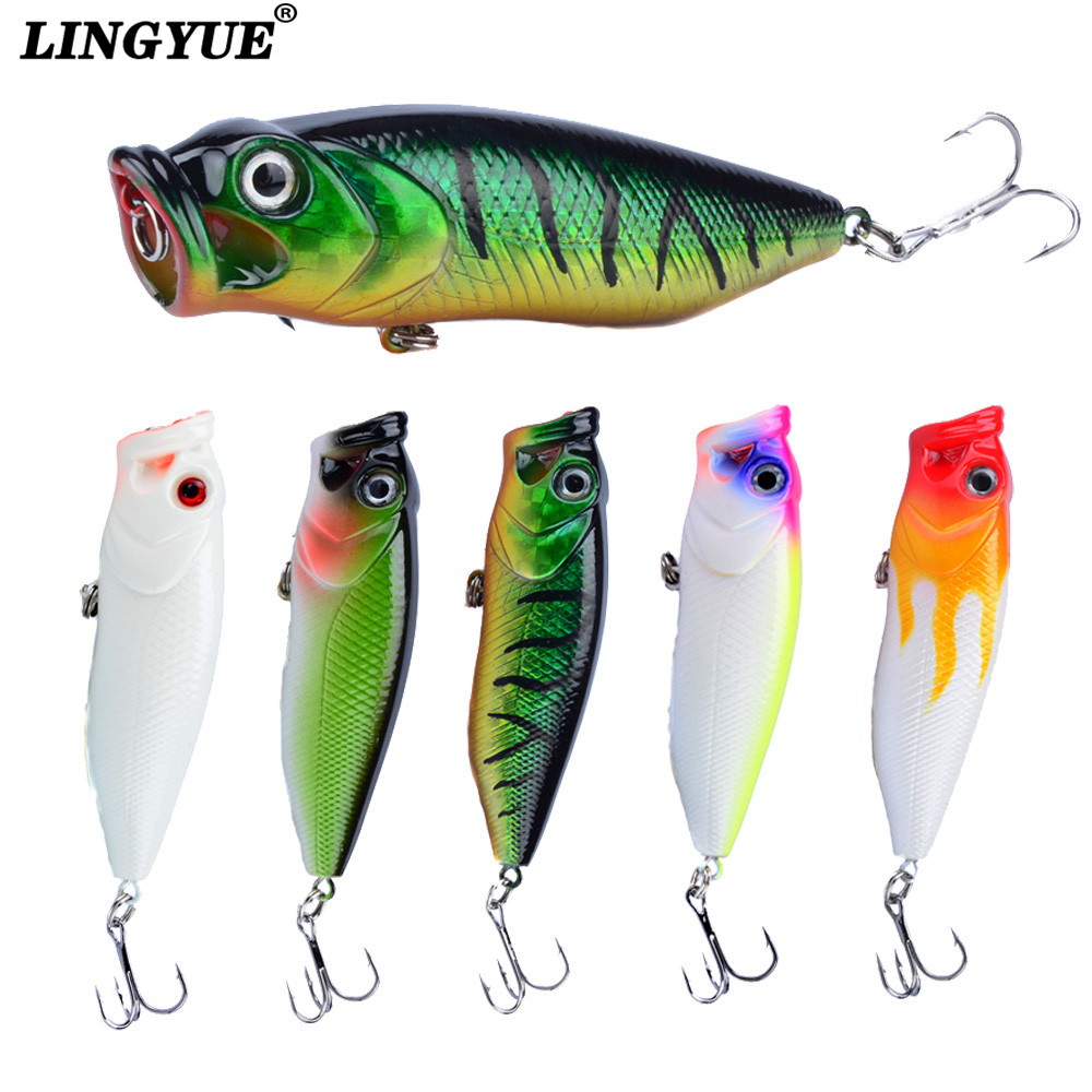 LINGYUE 1pcs Topwater Popper Fishing Lures 3D Eyes Crankbait Wobbler Fishing Tackle 5 Colors Available Hard Baits Wholesale bearking professional fishing lures popper 55mm 7 0g hard baits 3d eyes fishing tackle bearking crankbait good hooks