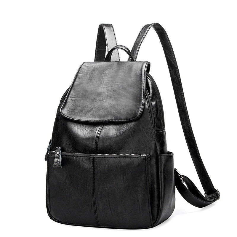 Famous luxury Brand Women's Backpacks Genuine Leather Female Large Capacity Backpack Black School Bag for Teens Girls travel bag zency genuine leather backpacks female girls women backpack top layer cowhide school bag gray black pink purple black color