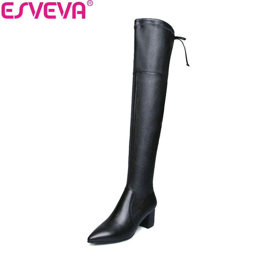 ESVEVA 2019 Women Boots Zipper Over The Knee Boots Stretch Fabric Winter Shoes Pointed Toe Square High Heels Long Shoes 34-42 esveva 2019 women boots square heels stretch fabric over the knee boots spring autumn shoes round toe woman boots size 34 42