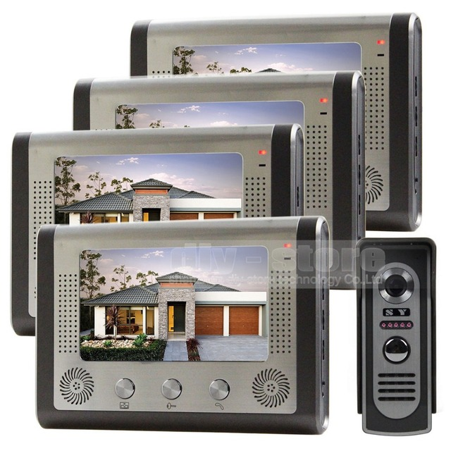 DIYSECUR 7 inch Door Bell Wired Video Door Phone System Home Security Entry 2 Way Intercom IR Camera SY801M14