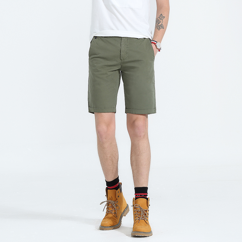 New Casual Shorts Men Bermuda Masculina Male Slim Work Shorts Knee-length Man Military Cotton Short Pants Pantalon Corto Hombre