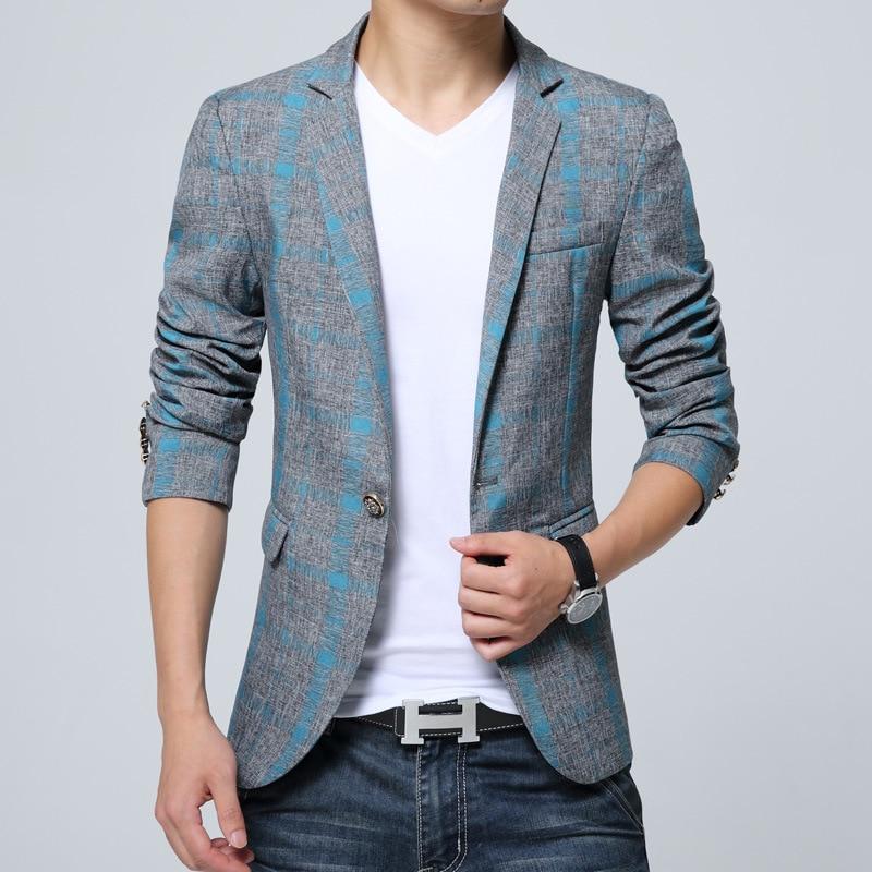 Aliexpress.com  Buy Designer Suits For Men Mens Plaid Blazer Cotton Mixed Casual Coat Slim Fit ...
