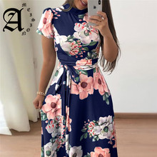 Ameision 2019 Women Summer Dress Casual Short Sleeve Long Boho Floral Print Bandage Elegant Maxi Stand Neck Dresses Vestido