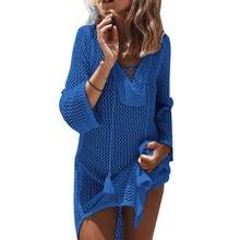 Women Swimwear Beachwear Bikini Beach Wear Big Fishnet Solid Cover Up Kaftan  Ladies Summer Dress( ffa11e05c007