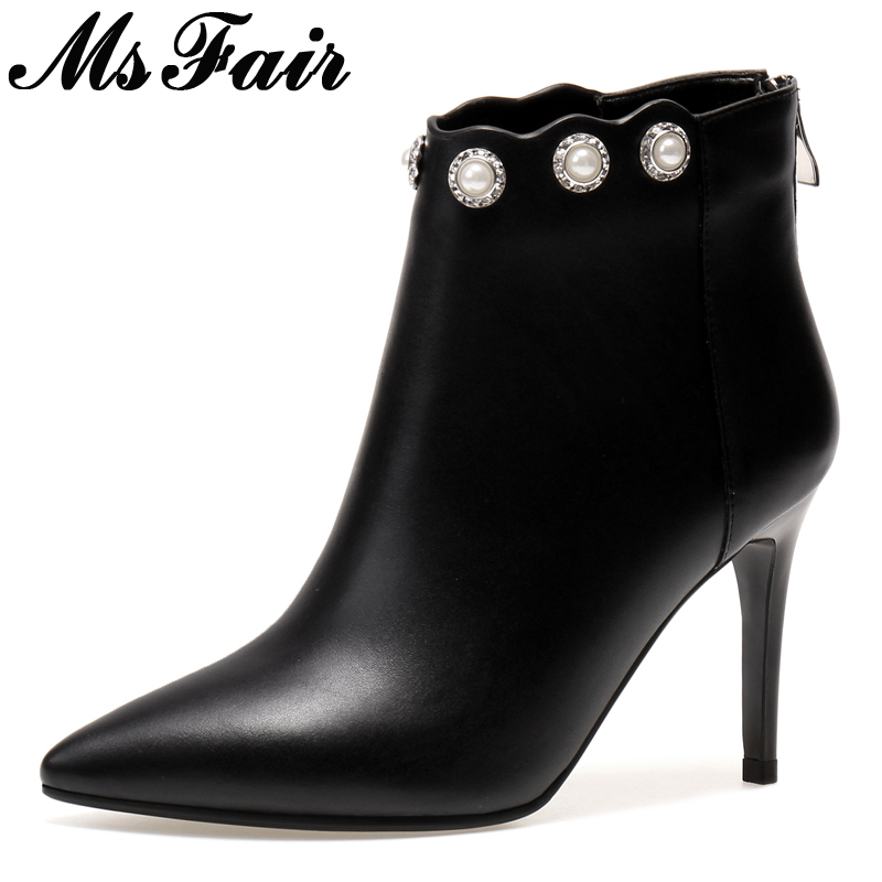 MsFair Pointed Toe Thin Heels Women Boots Fashion Super High Heel Ladies Ankle Boot 2017 Winter Zipper Crystal Women's Boots women buckle ankle boots winter fur warm high heels boots for women fashion pointed toe chunky heel boot pu leather shoes