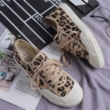 Women Canvas Shoes Leopard Lace Up Lady Sneakers 2019 Flat H