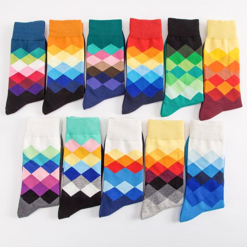 Men's Middle Stockings, Colored Rhombus Socks, Pure Cotton Socks