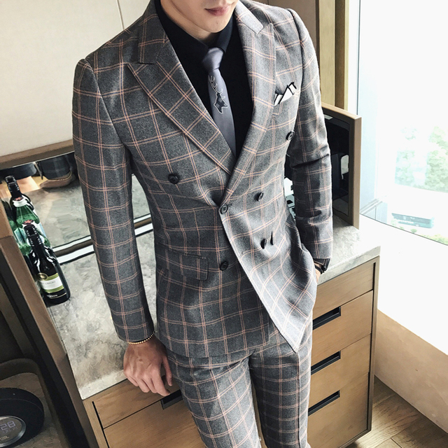 british double breasted plaid suit for men's wear korean evening suit for the handsome groom