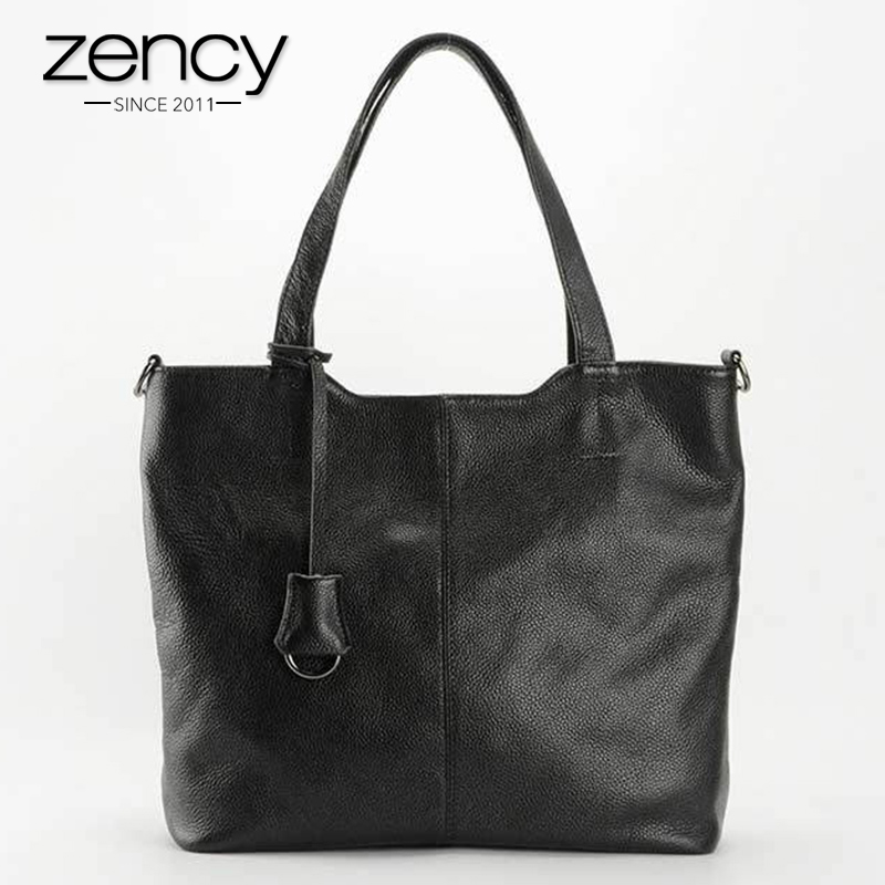 Zency 100% Genuine Leather Ladies Casual Tote Bag European And American Style Women Handbag Shoulder Messenger Super Quality dtbg pu leather women handbag fashion european and american style totes messenger bag original design briefcase zipper 2017
