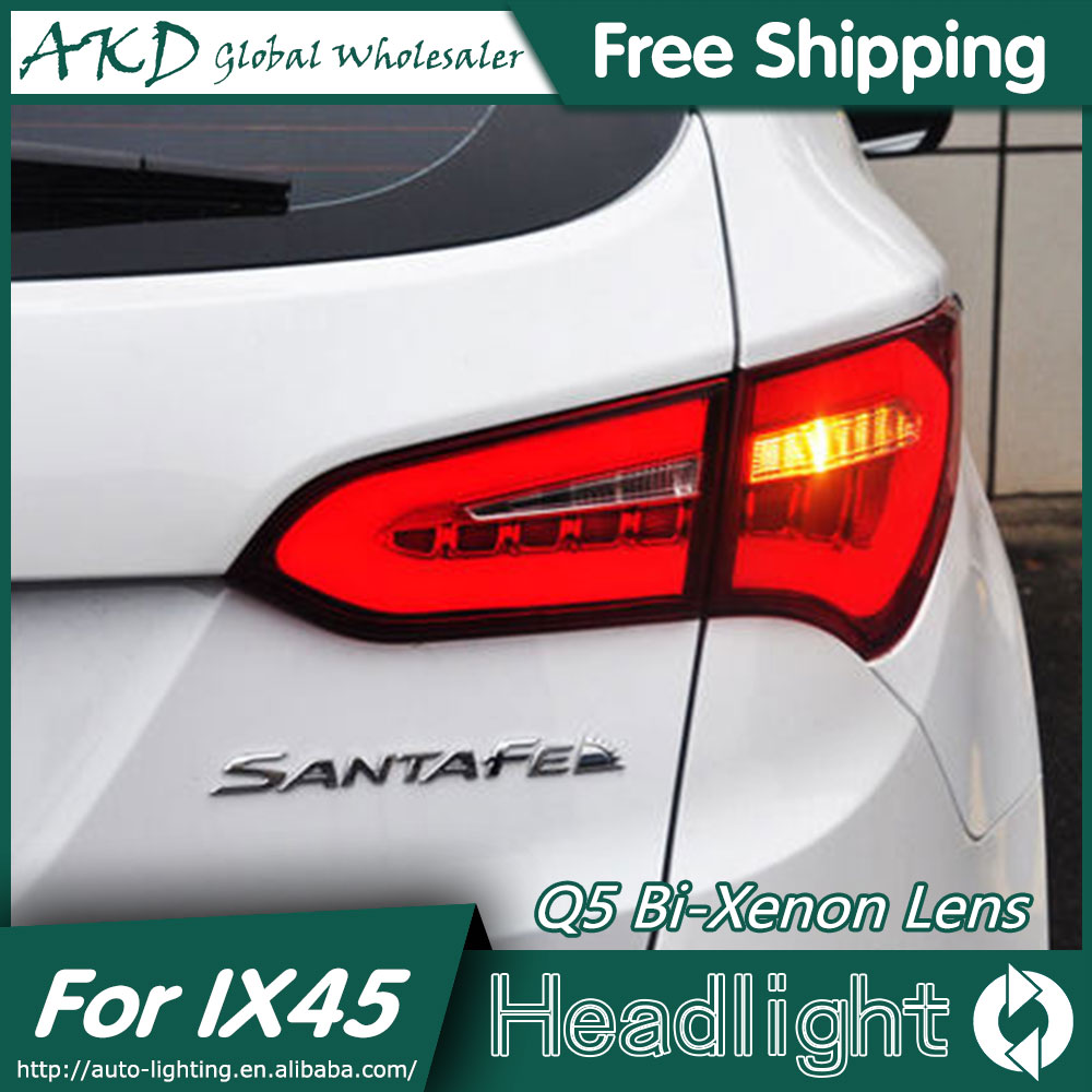 AKD Car Styling for Hyundai IX45 LED Tail Lights 2014 New Santa Fe IX45 Tail Light Rear Lamp DRL+Brake+Park+Signal jgd brand new styling for nissan s15 tail lights 1999 2014 led tail light rear lamp led drl singal car lights
