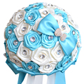 White and blue romantic handmade roses bridesmaid bouquet with rhinestones bridal bouquet for wedding accessories