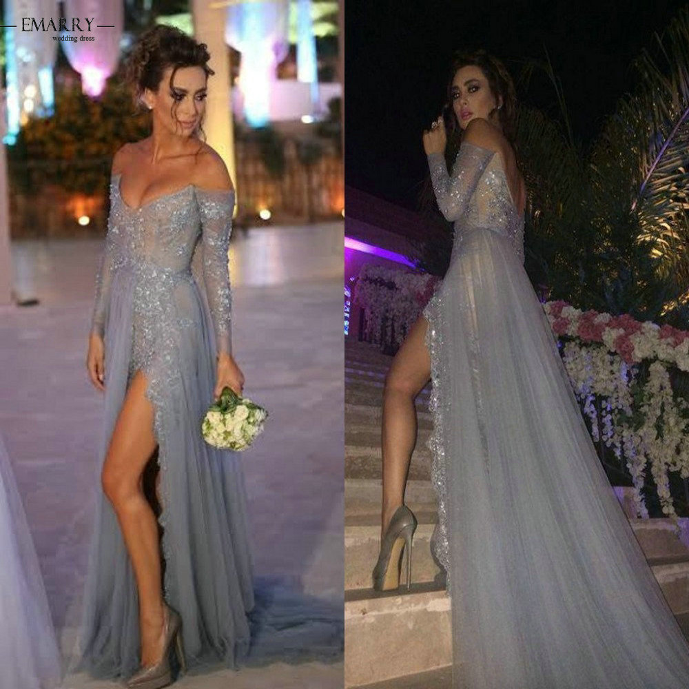 Hot Glamorous Sweetheart Long Sleeves Gray Evening Dresses Summer Style Lace A line Off the Shoulder