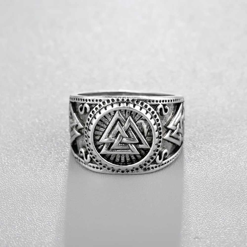 Cxwind rétro Odin symbole anneaux nordiques Viking Runes anneaux pour hommes runiques nordiques Valknut Antique Knuckle anneau Coiler bijoux de charme