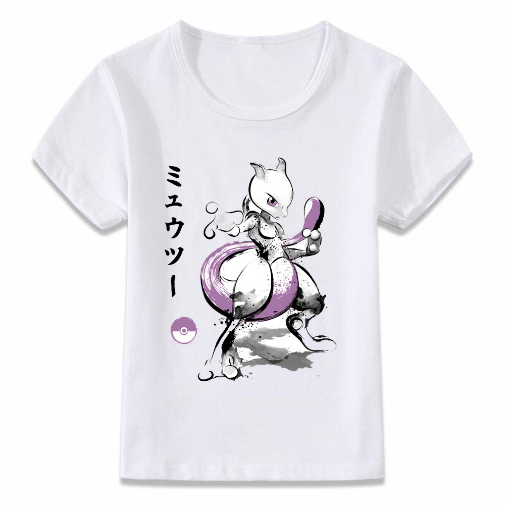 Kids Clothes T Shirt Mewtwo Watercolor Ink Art Pokemon Villain T-shirt For Boys And Girls Toddler Shirts Tee Oal162