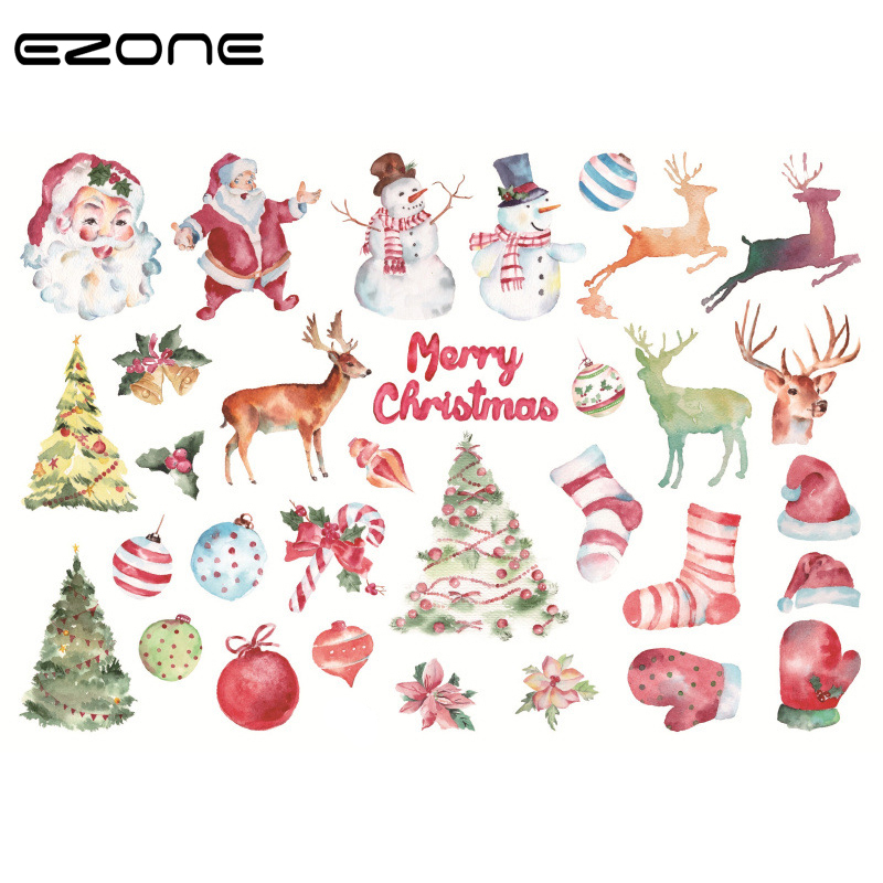 EXONE Christmas Sticker For Child Decoration DIY Kawaii Santa Claus/Elk/Snowman/Christmas Tree/Wreath Stickers School Suplly christmas snowman pattern door stickers