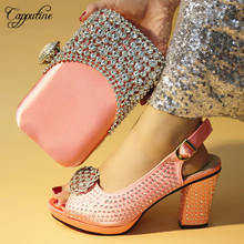 Capputine New Arrival Nigerian Pink Color Shoes And Bags Set Italian Rhinestone Woman Shoes And Bag Set For Evening Party