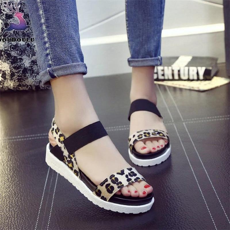 Flatform Mode Chaussures Femme Marron Zapatos Élastique Imprimé Summer Fond Épais 2018 New Léopard Bande Mujer Sandales Femmes UnzCpqx8C