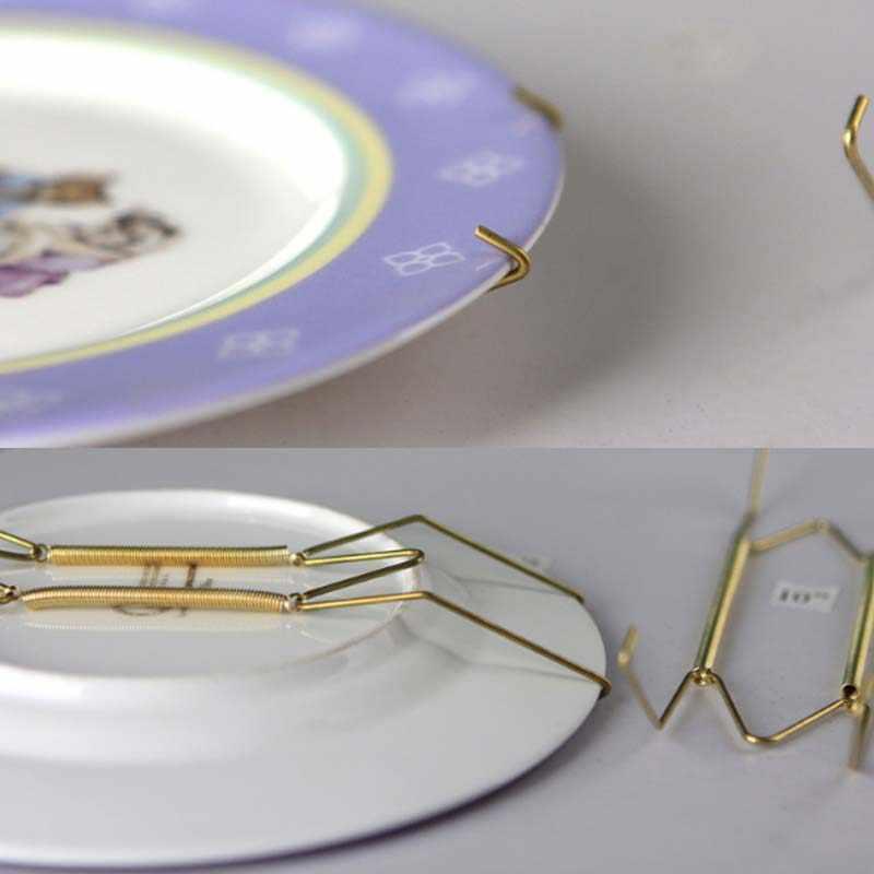 W Berbentuk Stainless Steel Musim Semi Bingkai Gantung Dinding Dekorasi Dekoratif Piring Emas Pemegang Penyimpanan & Rak 5 Ukuran 6A1310