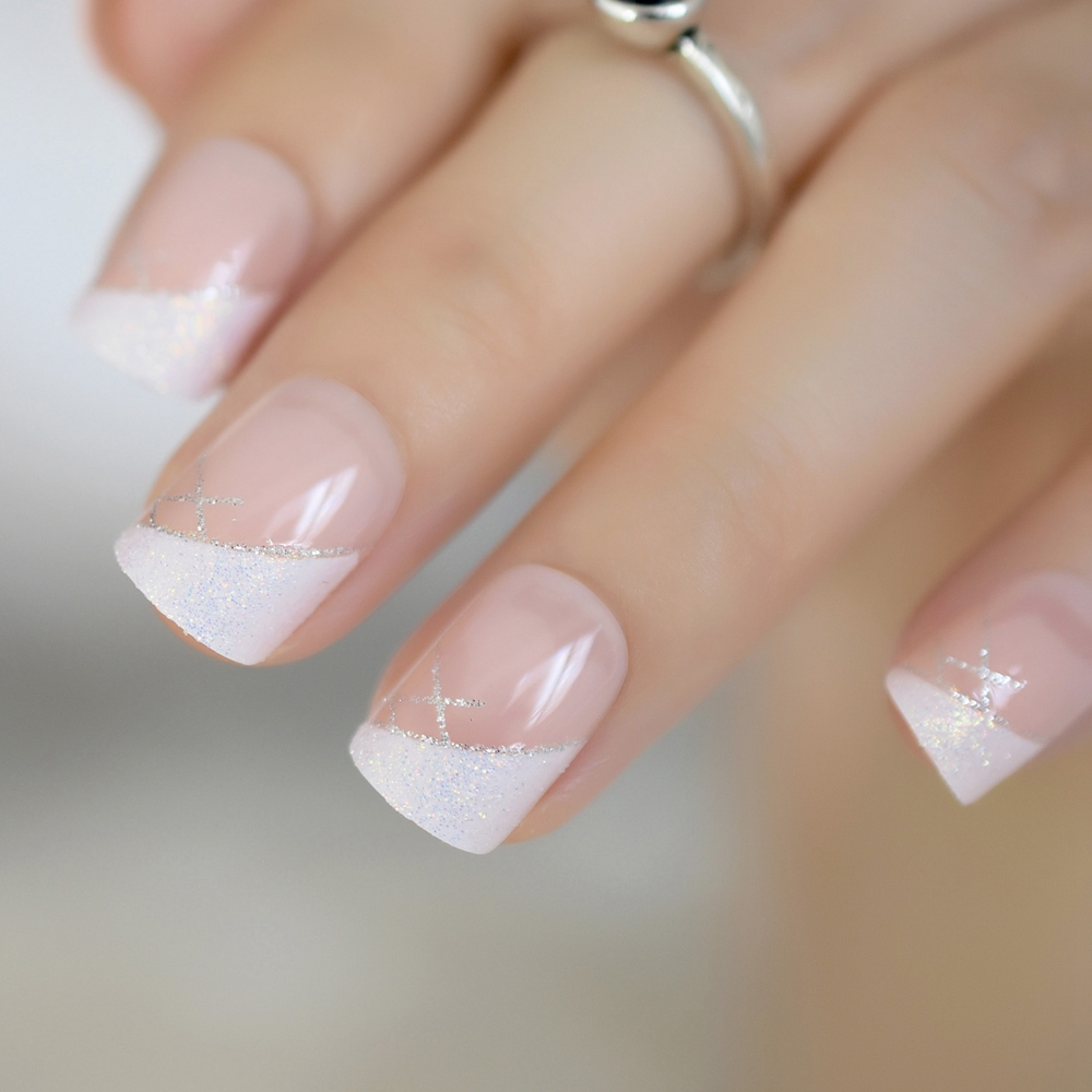 Iridescent White Instant French Nails Glitter Beveled Clear Short