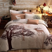 Tree and Deer Bedding Set Cotton Mysterious Dreamland Bed Linens 3pcs 4pcs/set Landscape Duvet Cover Set Pillowcases