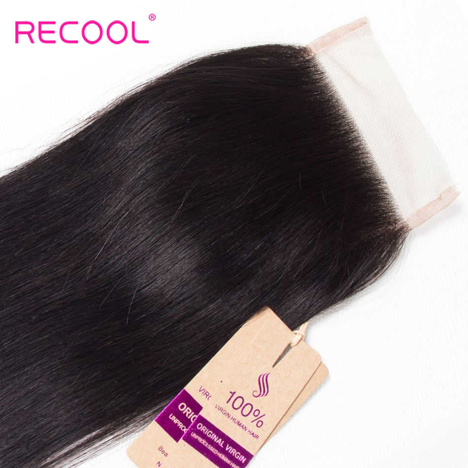 Recool pelo lacio brasileño HD transparente Cierre de encaje libre/Medio/tres Partes 4x4 pulgadas encaje suizo cierre superior cabello humano