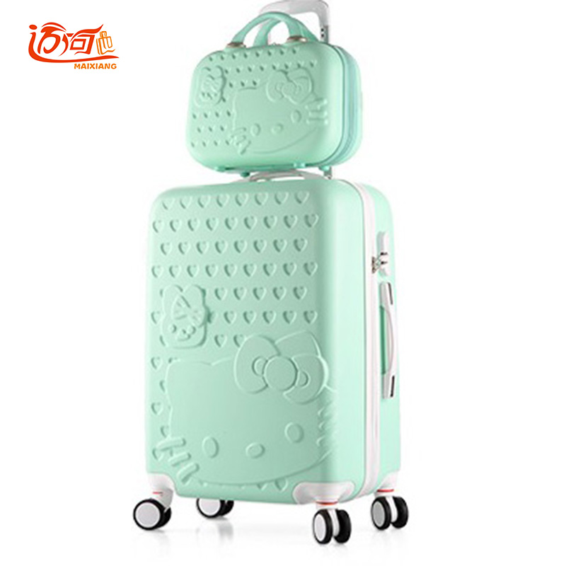 Hello Kitty kids travel trolley bag 2022242628 inch women bag with 14 make up case,water proof suitcase luggage set lovely hello kitty luggage children trolley travel bag 18 inch cartoon kids suitcases hello kitty bag for girls