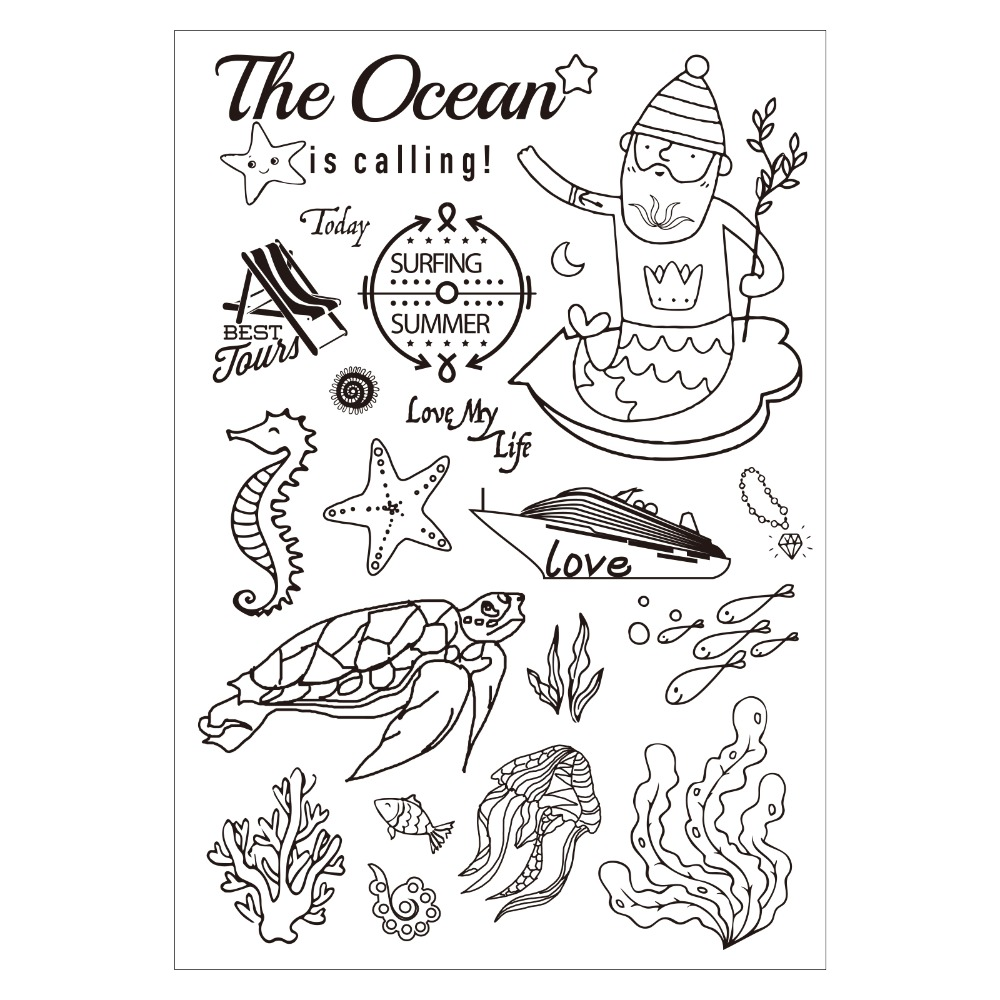 0cean coloring pages - Ocean Subject Clear Silicone Rubber Stamp For Diy Scrapbooking Photo Album Decorative Craft Clear Stamp