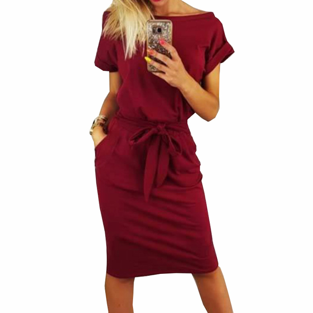 2018 New Summer Women Dress Knee-Length Sexy Bandage Bodycon Dress Short Sleeve Casual Dresses Sundress Femme GV451 1