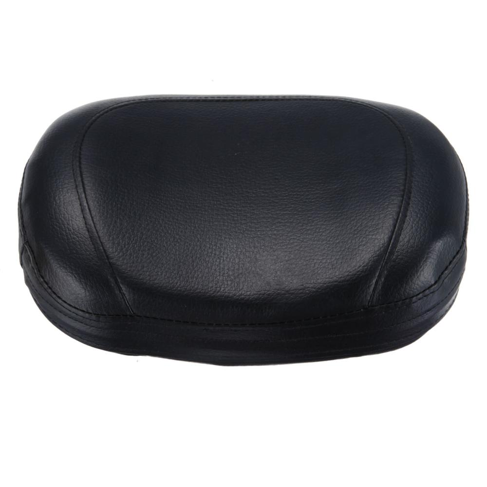 Black Rear Passenger Sissy Bar Backrest Cushion Pad For Harley Honda Suzuki Synthetic Leather Motorcycle Seat
