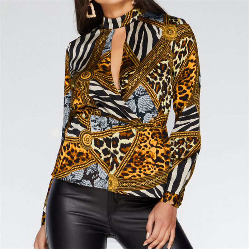 Printed Chiffon Blouse For Women 2019 Summer Sexy Hollow Out Leopard Blouse Fashion Long Sleeve Office Shirt Tunic Camisas Mujer 4